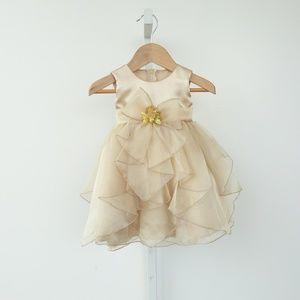 Pinky Kids Gold Sparkly Dress